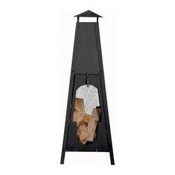 "Esschert Design - Terrace Heater Obelisk - Black Cast Iron Obelisk Terrace Heater with Mesh 15""x 15""x 41"""