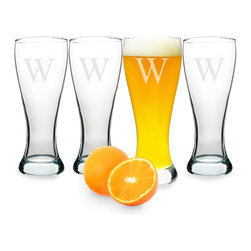 None - Personalized Pilsner Glasses (Set of 4) - Give your home bar a unique touch with these custom engraved pilsner glasses. Featuring a single block initial,this set of four glasses is made of hand-blown,contoured glass with a weighted bottom. The hourglass shape holds a full 20 ounces.