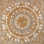 "Glass Tile Oasis - Leaf Medallion Brown Medallion Series Tumbled Stone - Sheet size:  36"" x 36""        Tile thickness:  1/4""        Grout Joints:  1/4        Sheet Mount:  Mesh Backed        Stone tiles have natural variations therefore color may vary between sheets.    Sold by the sheet    -"