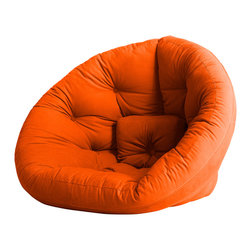 Fresh Futon - Nido Convertible Futon Chair/Bed, Orange Mattress - After a long hard day you can feel snug retreating to the Nido by lounging in this folded cone-shaped chair or lying on it as semi-circular mattress, you can even combine two for an even wider spread. Winner of theBest ProductInnovation Cup 2009. Available in various frames and multiple fabric color options.