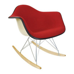 Herman Miller Rocking Chair with Red Girard Fabric - Dimensions 25.0ʺW × 27.0ʺD × 26.0ʺH