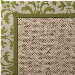 Frontgate - Outdoor Parkdale Rug in Sunbrella Softly Elegant Green White Wicker - 5' x 8' - Wicker-textured base is woven in soft and durable olefin. Cleans with soap and water. Sunbrella® fabric is resistant to fading, staining, and mildew. Rug pad recommended (sold separately). Made in the USA. Our Parkdale Rug with colorful borders matches the premium all-weather fabrics featured on our replacement cushions, pillows, draperies, and umbrellas. This all-weather rug will work just as beautifully indoors as it does outside. . . Sunbrella fabric is resistant to fading, staining, and mildew. . .
