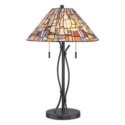 Quoizel - Stinson Vintage Black Two Light Table Lamp - - Switch Type: Pull Chain Socket (On/Off)  - Cord Length: 8 Feet  - Glass/Shade: Tiffany Glass Shade Quoizel - TF1693TVK