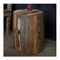 "CG Sparks - Reclaimed Wood End Table - This unique and stylish end table is handcrafted of reclaimed wood by artisans in India. With a weathered and stripped finish, an interesting barrel shape is also features on this beautiful table. This product was created in North Western India. Once the British removed its armed forces from the region in the late 40s a majority of the industries available for the local economy disappeared with them. The indigenous people went back to the traditional crafts and furniture manufacturing that they had known for generations. This industry has truly created a renaissance in economic growth in the region. The handcrafted touch of artisan skill creates variations in color, size and design. If buying two of the same item, slight differences should be expected. Note: Color discrepancies may occur between this product and your computer screen. Features: -Indoor/outdoor use.-Suitable as an end table or seating.-Reclaimed wood construction.-Stripped finish.-Reclaimed Collection.-Collection: Reclaimed.-Distressed: Yes.-Powder Coated Finish: No.-Gloss Finish: No.-Solid Wood Construction: Yes.-Nesting Tables: No.-Non-Toxic: Yes.-UV Resistant: No.-Scratch Resistant: No.-Weather Resistant or Weatherproof: Not weather resistant.-Water Resistant or Waterproof: Not water resistant.-Stain Resistant: No.-Lift Top: No.-Storage Under Table Top: No.-Glass Component: No.-Legs Included: Yes.-Casters: No.-Stackable: Yes.-Reclaimed Wood: Yes.-Adjustable Height: No.-Outdoor Use: Yes.-Commercial Use: No.-Recycled Content: No.-Product Care: We recommend using a cleaning solution of 3 parts water to 1 part white vinegar. Clean with a cotton rag..Dimensions: -Overall Height - Top to Bottom: 22"".-Overall Width - Side to Side: 15"".-Overall Depth - Front to Back: 15"".-Overall Product Weight: 30 lbs.Assembly: -Assembly Required: Yes.-Tools Needed: No tools required.-Additional Parts Required: No."