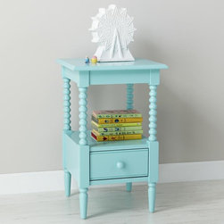 Jenny Lind Nightstand, Azure - This is an adorable nightstand. I love the color, and the detailing is perfection. I would have to have this one for my own.
