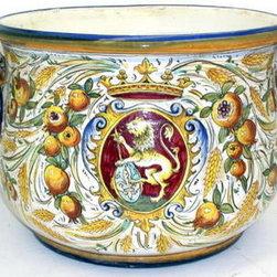 Artistica - Hand Made in Italy - Majolica Leone Rosso: Cachepot D/Handles - Majolica Leone Fondo Rosso Collection.