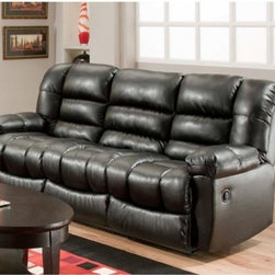 Chelsea Home Orleans Reclining Sofa - New Era Black - Style and comfort live in the Chelsea Home Orleans Reclining Sofa - New Era Black. This sofa fits three people comfortably and the two outside chairs have reclining features. It was built with a solid kiln dried hardwood frame, hi-density foam core cushions over sinuous springs, and sumptuous faux leather upholstery in new era black. About Chelsea Home FurnitureProviding home elegance in upholstery products such as recliners, stationary upholstery, leather, and accent furniture including chairs, chaises, and benches is the most important part of Chelsea Home Furniture's operations. Bringing high quality, classic and traditional designs that remain fresh for generations to customers' homes is no burden, but a love for hospitality and home beauty. The majority of Chelsea Home Furniture's products are made in the USA, while all are sought after throughout the industry and will remain a staple in home furnishings.
