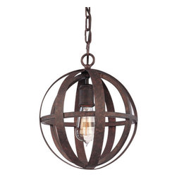 Troy Lighting - Troy Lighting F2511 Flatiron 1 Light Wrought Iron Pendant - The finest in industrial rustic looks, Flatiron 1 Bulb Pendent is framed in a traditional wrought iron globe made by hand for precision crafted appeal. Featuring a single Edison bulb and weathered iron finish, it creates an atmosphere in small to midsized rooms and accents larger spaces. Perfect for taking your traditional, transitional, or industrial loft look to the next level.Being a Leader in an Industry requires many attributes. Troy Lighting's passion for quality, design, value and service lead the way. Their Team of Lighting Professionals are serious about producing awesome lighting and having a strong, well-run company. Hand-Forged Iron, Hand Applied Finishes, Glass and Shades that compliment the style are primary ingredients in Troy Lighting products. They take great pride in their engineering and inspection standards that ensure a quality product. Troy Lighting is committed to providing quality high styled products, at reasonable prices, backed with the highest standard of service.Features: