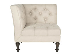 Safavieh - Maddalena Club Chair - A contemporary iteration of a loveseat and far more cozy, the sleek Maddalena Club chair is softened with button-tufting. Turned legs in espresso-finished birch wood, and antique gold linen-textured upholstery complete the look.