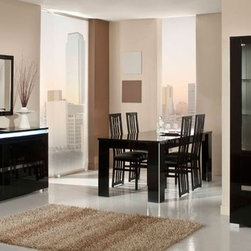Elite Modern Italian Black Lacquer Dining Table - Made in italy modern dining