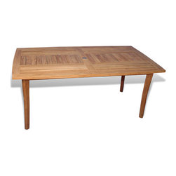 Thos. Baker - rockport dining table - An elegant design with patterned slat top and tapered legs. Ships with a brass umbrella hole cap.