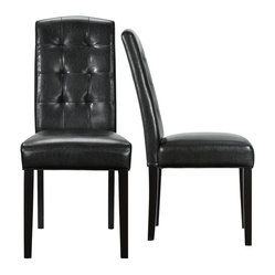 Perdure Dining Chair in Black Vinyl Set of 2