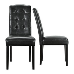 LexMod - Perdure Dining Chair in Black Vinyl Set of 2 - Mix timelessness with modern appeal in this Parsons style dining chair. Like the favorite pair of jeans which can be dressed up or down and tailored to every occasion, the rich simplicity of the Perdure chair makes it a perfect accessory for your every need.