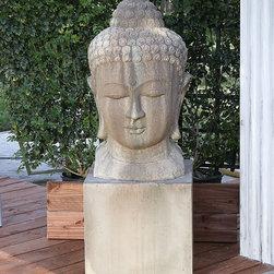 Gist Decor - Small Buddha Head Fountain - Stone Buddha  Head Fountain