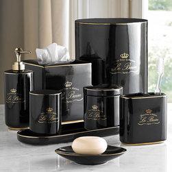 """Le Bain Black & Gold Porcelain Bathroom Accessories - """"Luxe Pour la Maison Le Bain Paris"""""""