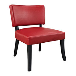 Powell - Powell Red Leather Look Chair - Perfect for any room in your home, the Red Leather Look Chair has a sleek design and style. The simple styled frame has a dark brown finish, while the plush seat and back are upholstered in a bright red PU. A sleek and stylish seating choice for any style home.