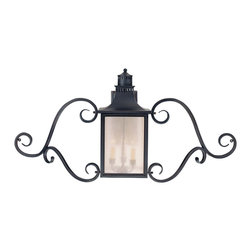 Savoy House - Savoy House 5-253-25 Monte Grande Wall Mount Lantern w/ Scrolls - Our extremely popular Monte Grande design is now available in this new Slate finish with Pale Cream Seeded glass.