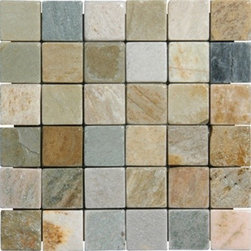 "Golden White Tumbled Mesh-Mounted Quartzite Mosaic Tiles 2"" x 2"" - 2"" x 2"" Golden White Mesh-Mounted Quartzite Mosaic Tile is a great way to enhance your decor with a traditional aesthetic touch. This Tumbled Mosaic Tile is constructed from durable, impervious Quartzite material, comes in a smooth, unglazed finish and is suitable for installation on floors, walls and countertops in commercial and residential spaces such as bathrooms and kitchens."