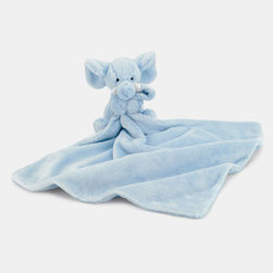 Jellycat 'Elephant Soother' Blanket - A sweet, cuddly elephant snuggles one corner of a plush, wonderfully soft blanket. Color(s): blue. Brand: JELLYCAT. Style Name: Jellycat 'Elephant Soother' Blanket. Style Number: 578905.