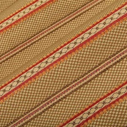 Duchess Upholstery Fabric in Linen - Duchess Detailed Stripe Upholstery Fabric in Linen is an intricately woven upholstery. The stripes alternate between a taupe and beige check pattern and detailed rust, brown, and tan stripes. This classic fabric is ideal for any upholstery project like sofas, couches, benches, ottomans, or even pillows. This high quality upholstery is available at an unbelievably low price in FabricSeen's online fabric store. Made from a blend of 35% rayon, 35% cotton, and 30% polyester, this durable upholstery fabric passes 15,000+ double rubs on the Wyzenbeek Abrasion Test. Cleaning Code: S; UFAC: Class I; passes CA117 Test. Width 54″; repeat 3 1/4″ V.