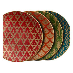 L'Objet - L'Objet Fortuny Canape Plates Set/4 Assortment - The artisans of Venice inspire us. Their carefully guarded secrets of technique have been handed down directly from the ancient world, one generation of skilled hand-crafters to the next. There is one who especially speaks to the heart of L'Objet - the legendary fashion and textile designer Mariano Fortuny - revealing a deep and kindred connection that transcends time. It sets the pattern and pace of this collaboration.Earthenware Set/4