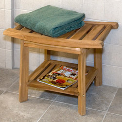 Teak Curved Shower Seat - This shower seat will instantly add a spa atmosphere to your bathroom. Made of natural teak wood, this shower seat is perfect for your walk-in shower or steam room.
