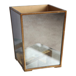 """Bungalow 5 - Bungalow 5 Marie Waste Bin - Bungalow 5's Marie waste bin accents a transitional interior with shimmering glamour. Antique mirrored panels shine across the rectangular trash accessory's gold metal frame. 8""""W x 8""""D x 8.5""""H"""