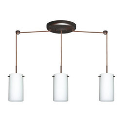 Besa Lighting - Besa Lighting 3BB-440407-HAL Stilo 3 Light Halogen Linear Pendant - Stilo 7 is a classic open-ended cylinder of handcrafted glass, a shape that will stand the test of time. Our Opal glass is a soft white cased glass that can suit any classic or modern decor. Opal has a very tranquil glow that is pleasing in appearance. The smooth satin finish on the clear outer layer is a result of an extensive etching process. This blown glass is handcrafted by a skilled artisan, utilizing century-old techniques passed down from generation to generation. The cord pendant fixture is equipped with three (3) 10' SVT cordsets and a 3-light linear canopy, two (2) suspension stemhooks included.Features: