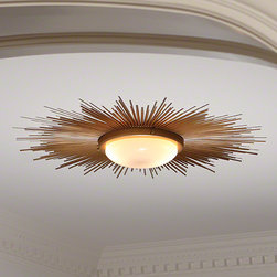 CHARLOTTE & IVY Favorite Additions Spring 2013 - Fabulous style! We love this modern sunburst light fixture. A major statement. Great update to a bedroom flush-mount or entryway.  A hint of 1920s in this super glamorous light.