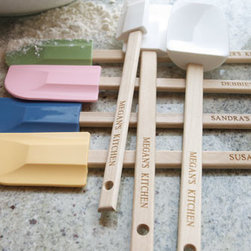 Horchow - Three-Piece Personalized Spatula Set - Silicone spatulas have wooden handles personalized with a name and/or phrase of your choosing. Each set includes three different sizes in the same color (listed top to bottom): White, Sea Green, Pink, Indigo, and Maize; select color when ordering. Ideal...