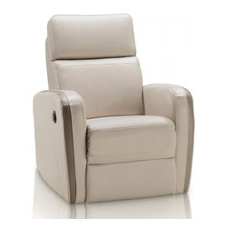 Creative Furniture - Argentina Light Beige/Brown Top Grain Leather Chair - Have a seat in the chair and enjoy a good book and cup of tea. The functional and pleasing Argentina Light Beige / Brown Top Grain Leather Chair is a versatile and comfy place to relax. The smooth operation of the power reclining seats is perfect for putting your head back and your feet up.    Features: