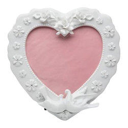 ATD - 7.75 Inch Rose Flower and Dove Design Heart Shape Picture Frame - This gorgeous 7.75 Inch Rose Flower and Dove Design Heart Shape Picture Frame has the finest details and highest quality you will find anywhere! 7.75 Inch Rose Flower and Dove Design Heart Shape Picture Frame is truly remarkable.