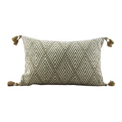Lacefield Designs - Tahitian Stitch Lumbar Pillows - The Tahitian Stitch Pillow in Tusk offers an exotic vibe with natural tassel corners. The diamond chevron print on linen lumbar shape adds interest to bedroom or living room.