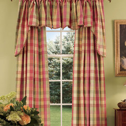 Window Toppers Moire Plaid Princess Swag - Country Curtains® -