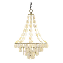 Arteriors - Southampton Chandelier - Light your favorite space with something pretty and pearly. This chandelier, strung with delicate seashells along an antique silver-finished iron frame, makes a refreshing way to add charm to a casual setting.