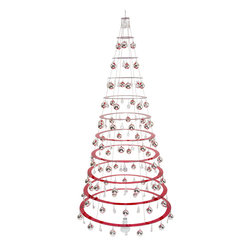 Dream Tree, LLC. - The Modern Christmas Tree, Ruby Red, 7.5', Glass Bulbs - 7.5ft tall*/ 15lbs (with ornaments)