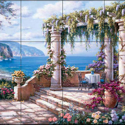The Tile Mural Store (USA) - Tile Mural - Sk - Floral Patio Ii - Kitchen Backsplash Ideas - This beautiful artwork by Sung Kim has been digitally reproduced for tiles and depicts colorful flowers on a patio overlooking the sea.  This garden tile mural would be perfect as part of your kitchen backsplash tile project or your tub and shower surround bathroom tile project. Garden images on tiles add a unique element to your tiling project and are a great kitchen backsplash idea. Use a garden scene tile mural for a wall tile project in any room in your home where you want to add interesting wall tile.