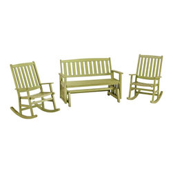 HomeStyles - Bali Hai Outdoor Glider Bench and Two Rocking - Eco-friendly, plantation grown Shorea wood. Contoured seat. traditional slat design. Stainless steel hardware. Dimensions: 54.25 in. W X  28 in. D X  35.75 in. H30.5 in. W X  25.75 in. D X  38.5 in. HCreate an island oasis on your porch or patio with a Home Styles Bali Hai Outdoor Glider Bench and Two Rocking Chairs.  Showcasing an island inspired design in a versatile limeade finish with rubbed aged look and construction of eco-friendly, plantation grown Shorea wood which is known for its exceptional durability and natural resistance to water, this bench is designed to provide endless hours of outdoor entertainment use.  Curved back and contoured seats provide excellent support and impart a slightly modern touch to the overall traditional slat design.  Beautifully built with stainless steel hardware.  Set includes glider bench and two (2) rocking chairs.  Glider bench seat height measures 17.75 inches high. Rocking Chair seat height measures 16 inches high.  Glider bench size: 54.25w 28d 35.75h. Rocking chair size: 30.5w 25.75d 38.5h.