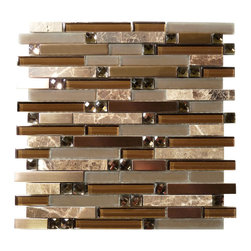 Euro Glass - Twilight Serenity Random Bricks Brown Glamour Series Glossy and Frosted Glass - Sheet size: 1 Sq. Ft.