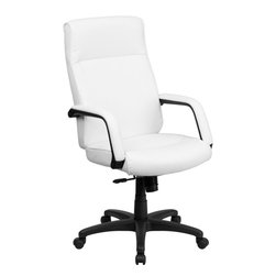 Flash Furniture - High Back Leather Executive Office Chair With Memory Foam Padding - Feel the difference immediately in this Executive Office Chair that features Memory Foam Padding! The plush padding provides instant comfort to help you get through your work day. This chair also features a locking tilt control, pneumatic seat lift and a sturdy nylon base.