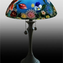Barthell, Jamie - Summer Bouquet Reverse Hand Painted Glass Table Lamp - This beautiful hand painted glass table lamp shown here in the Summer Bouquet design will make a stunning addition to any room. Each piece is an original work of art that is signed and numbered, and includes a certificate of authenticity.The lamp is shown as priced with the standard base. A number of other base designs are also available, see photo 2, Please call for prices
