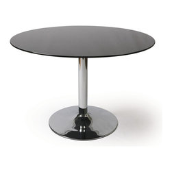 Pastel Furniture - Pastel Sundance Round Black Glass Dining Table in Chrome - 44 Round Black Glass Dining Table in Chrome