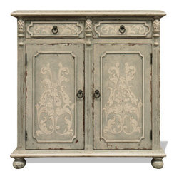 Koenig Collection - Old World French Buffet, Newport Finish W/ Celeste Distressed And Amaryllis - Old World French Buffet, Newport Finish W/ Celeste Distressed and Amaryllis W/ Bone Scrolls
