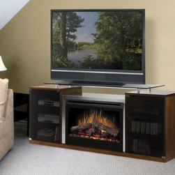 """Dimplex - Marana 76"""" TV Stand with Electric Fireplace - An elegant electric fireplace brings romance and relaxation into the spirit of any home. Benefit from the warmth of the flames or just sit back and enjoy the luminescence of earth's greatest treasure. This fireplace requires no venting, comes with a remote control, and assembles in just minutes. With the best warranties in the business, Dimplex offers all of their Symphony Ovation fireplaces with a five-year limited warranty. As an added bonus, Dimplex oversees a regional staff of technicians across the country to make home visits for repairs and maintenance. Features: -Perfect for use as a tv stand with a flat panel tv.-33'' Firebox.-Built in thermostat.-Remote control features thermostat, sleep timer, mode selection, time, and a child lockout feature.-Clean, all electric operation with no venting required.-Operates with or without heat.-Glass remains safe to touch whether heater is operating or is off.-Features Purifire - The first integral air filtering system for removing mold, pollen, dander, dust and other allergens.-Does not contribute to indoor moisture, mold or ventilation problems.-Economical to operate.-Increases the temperature of a 12' x 14' room up to 8 degrees.-Black trim.-Cherry finish.-Electraflame collection.-Distressed: No.-Collection: Electraflame.Specifications: -Thermostat-controlled 1500 W (5,115 BTU) Heater.-Plugs into any 110/120V outlet - no venting.-Provides supplemental heat for up to 400 Sq. ft.Dimensions: -Firebox Dimensions: 33''W x 23.9''H x 9.4''D.-Overall dimensions: 32.4"""" H x 75.6"""" W x 20.9"""" D.Warranty: -5-year limited warranty."""