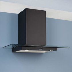 """36"""" Classico Series Black Wall-Mount Range Hood - 600 CFM - This contemporary wall-mount range hood will look great in any modern kitchen. Made of stainless steel, its Black Powder Coat finish and contemporary glass accents give this range hood a sleek look."""