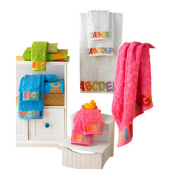 Luxor Linens - ABC Jacquard Luxury Baby Towels, White, 6 Pc - 6 Piece : 2 bath towels, 2 hand, and 2 tip. 12 Piece : 4 bath towels, 4 hand, and 4 tip. 650 gsm. Machine wash and dry. Towels become softer with each washing. Imported.
