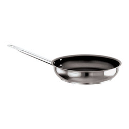 """Paderno World Cuisine - """"Grand Gourmet"""" 15-3/4-Inch Non-stick Stainless-steel Frying Pan - This 15-3/4-inch non-stick stainless-steel frying pan has a height of 2-3/8-inch. The Grand Gourmet series boasts an outer and inner satin polish and a mirror-finish along the edges. The interior is coated with multiple layers of a PFOA-free, non-stick professional finish, and the traditional stay-cool stainless steel handle, affixed with forged stainless steel rivets, ensures a secure grip for tilting and rotating the pan. The line has a sandwich, thermo-radiant bottom (stainless steel/aluminum/stainless steel) that is concave when cold and flat when hot, making it perfect for use on any type of stove, whether gas, electric, glass ceramic or induction. Made in Italy by Paderno. NSF approved. Limited Lifetime Warranty.; PFOA-Free Non-stick finish; NSF Approved; Induction ready; Compatible with all heat sources; Handle with forged stainless-steel rivets; Weight: 9 lbs; Made in Italy; Dimensions: 2.38""""H x 15.75""""L x 15.75""""W"""