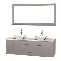 """Wyndham Collection - Centra Bathroom Vanity in Grey Oak,WT  Carrera Top,Pyra White Sinks,70"""" Mir - Simplicity and elegance combine in the perfect lines of the Centra vanity by the Wyndham Collection. If cutting-edge contemporary design is your style then the Centra vanity is for you - modern, chic and built to last a lifetime. Available with green glass, pure white man-made stone, ivory marble or white carrera marble counters, with stunning vessel or undermount sink(s) and matching mirror(s). Featuring soft close door hinges, drawer glides, and meticulously finished with brushed chrome hardware. The attention to detail on this beautiful vanity is second to none."""