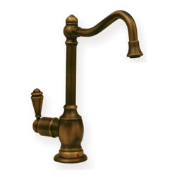 Whitehaus Collection - Whitehaus WHFH-H3130 Brass Deck Mount Curved Instant Hot Water Dispenser, Antiqu - The Whitehaus WHFH-H3130 brass deck mount curved instant hot water dispenser includes a vintage designed Victorian spout. The faucet has several distinctive features from its self-closing handle that automatically shuts when not in use to its hook-up to the Forever Hot heating tank for instant hot water that translates to easy kitchen preparation and clean up.