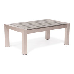 ZUO VIVA - Cosmopolitan Coffee Table Brushed Aluminum - Made from 100% aluminum frame with a polyethylene faux wood top, the Metropolitan coffee table will create the perfect gathering place with friends